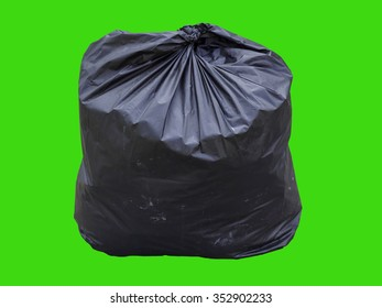 garbage bag isolated on green background. Clipping path.