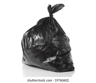 garbage bag isolated on a white background with a smooth reflection