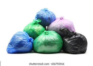 Garbage bags isolated on a white