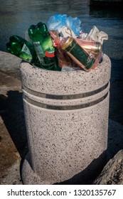 Garbage bin totally filled up