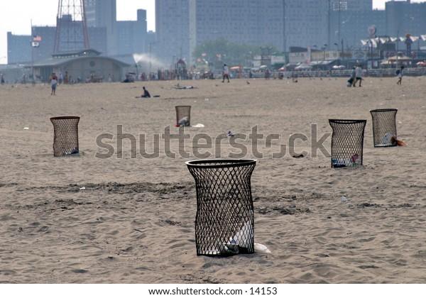 garbage bins on beach