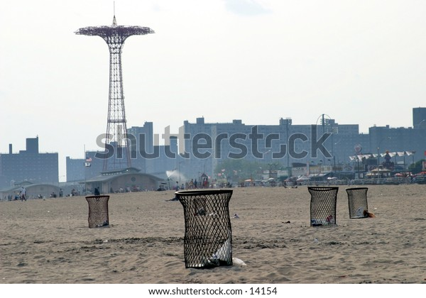 garbage bins on beach