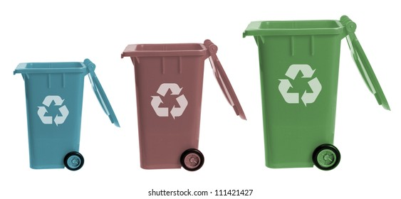 Garbage Bins on White Background