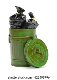 Garbage Can Filled with Black Trash Bags Isolated on White Background.