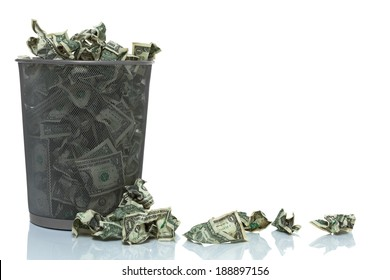 Garbage can full of money spilling over, left side