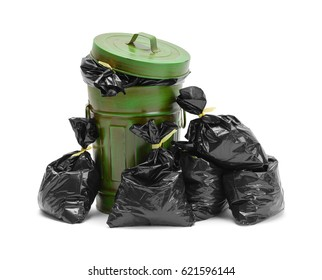 Garbage Can and Pile of Trash Bags Isolated on White Background.