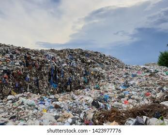Garbage dump against blue sky