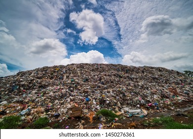 Garbage Dump Hill, landscape with landfill and clouds