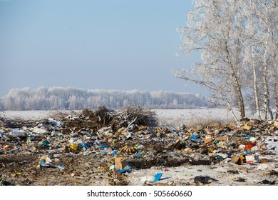 Garbage dump in the winter
