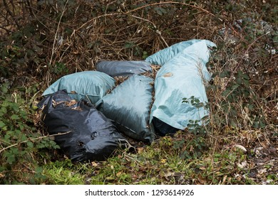 Garbage in forest. People illegally throw garbage into forest. Concept of man and nature. Illegal garbage dump in nature. Dirty environment garbage polluting near footpath in forest. Rubbish, trash