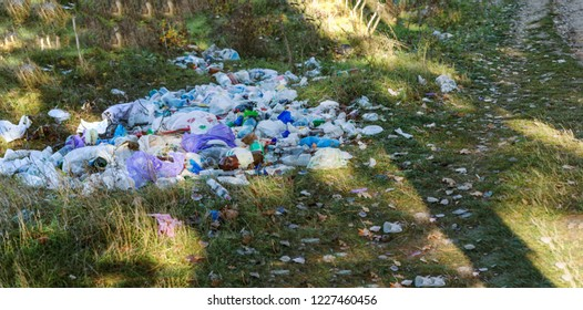 Garbage in forest. People illegally thrown garbage into forest. Concept of man and nature. Illegal garbage dump in nature. Dirty environment polluting Trash near hiking trail in forest. Trash