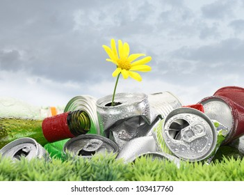Garbage with growing daisy under storm clouds. Recycle concept