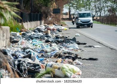 Garbage heap along a road, near Rome, Italy. Environmental degradation concept