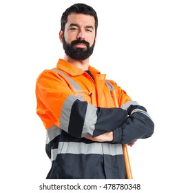 Garbage man with his arms crossed