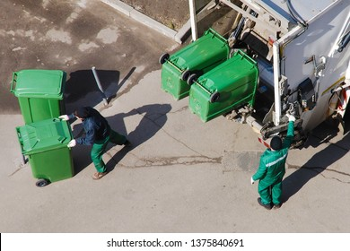 Garbage men at work, garbage collection, remove waste,  recycling