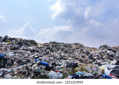 Garbage mountains are abundant from urban and industrial areas.