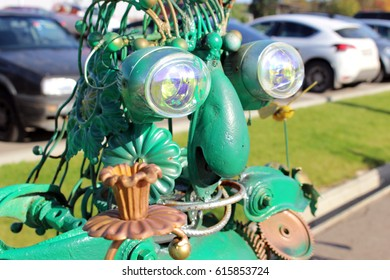 "GARBAGE MUSEUM ""MU-MU"", RUSSIA - OCTOBER 2016: Sculpture of a robot from garbage near the museum of garbage ""MU-MU"""