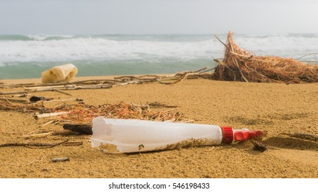 Garbage on a beach left by tourist, environmental pollution concept picture