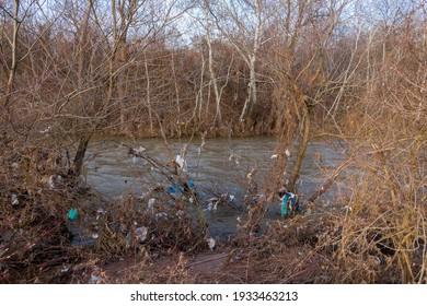 Lot of garbage on river banks