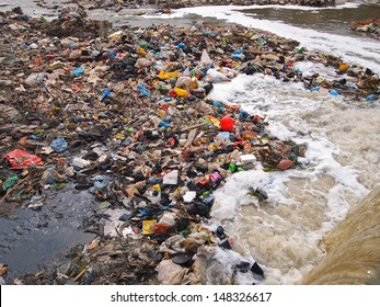 Garbage on the river shore
