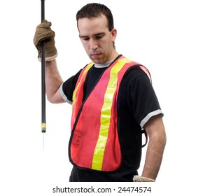 A garbage picker with a poking stick, isolated against a white background