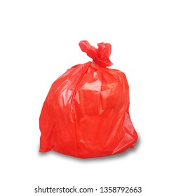 Garbage in red bag for eliminate isolated on the white background. This has clipping path.
