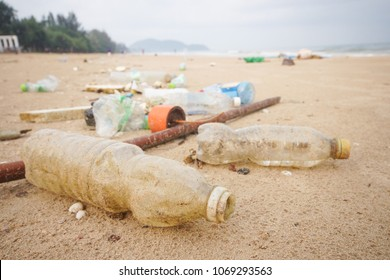 Garbage in the sea affecting marine lives / Environmental problem concept / World environment day