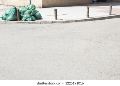 garbage in the street and copy space