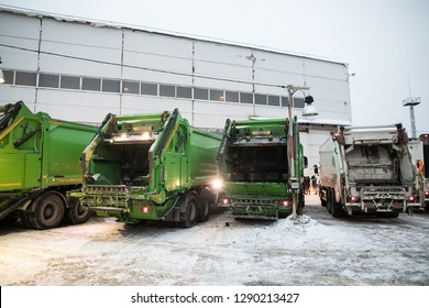 garbage truck of green color. The new one was not yet in work.