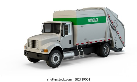 Garbage truck isolated on white background