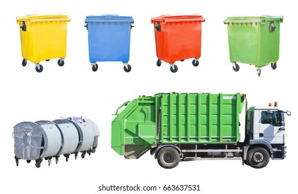 garbage truck with recycle bin set isolated on white