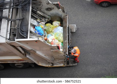 Garbage Truck, Worker Man Collecting plastic, industrial vehicle