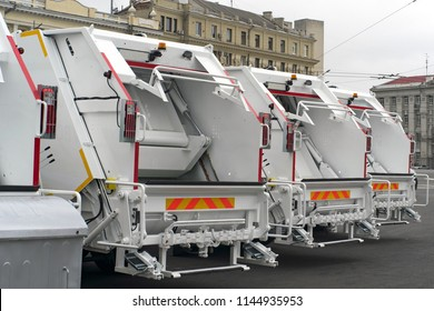 Garbage trucks in the city, garbage removal