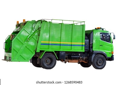 Garbage trucks into waste emptying containers for waste disposal in Thailand, Garbages creates environmental pollution, Clipping path.
