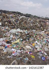 Garbage or waste Mountain at Garbage Godown, Tamilnadu India.  Picture taken on 15/05/2019