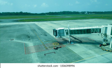 Garbarata or jetway aerobridge at the airport