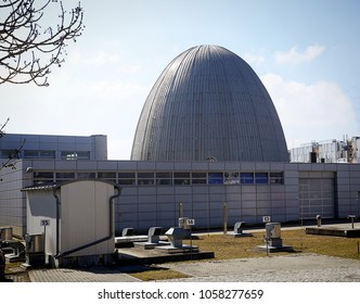 "GARCHING, GERMANY - MARCH 24,2018 - Campus of Technical University of Munich (TUM),   the ""atomic egg""  for  Neutron research, the first nuclear reactor in Germany from year 1957,"