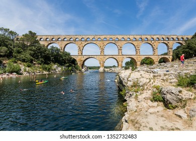 Gard, France July 13th 2015 : The magnificent three tiered Pont Du Gard aqueduct was constructed by Roman engineers in the 1st century AD in the south of France