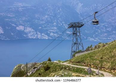 Garda lake panorama. Monte Baldo mountain cable car, Italy, Malcesine