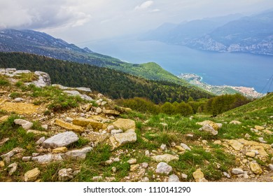 Garda lake view from Monte Baldo mountain, Italy, Malcesine town, Lombardy