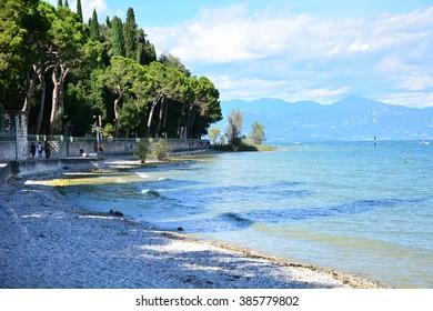 Garda Sirmione city italy lake shore landscape