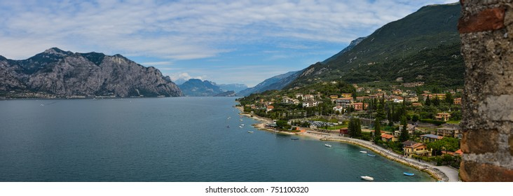 Gardasee panorama look from Castello Scaligero Tu Malcesine, Italy