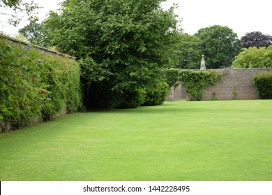 Garden archway with walls and trees