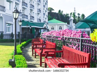 garden area in the resort with benches