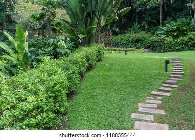 Garden with artwork in Casa Roberto Marinho art gallery, Cosme Velho district, Rio de Janeiro, Brazil