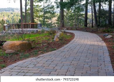 Garden Backyard brick stone concrete pavers walking path hardscape to backyard viewing deck