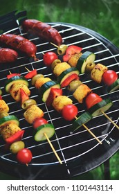 Garden barbecue, vegetable shish-kebab