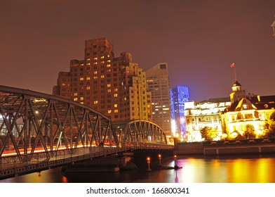 The garden bridge of Shanghai in China, the landmark. Colorful light trails