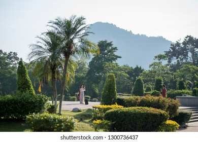 the Garden at the Buddha Cliff of Khao Chee Chan at the village of Sattahip near the city of Pattaya in the Provinz Chonburi in Thailand.  Thailand, Pattaya, November, 2018
