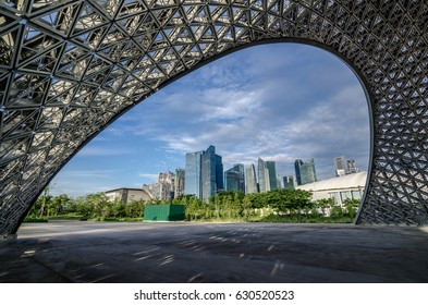 Garden By The Bay, Singapore- Oct 8, 2016: Singapore CBD area as seen from The Future Us Exhibition Pavilion.